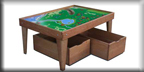 Cherry Train Table with Thomas Train Playboard & Storage Bin Trundle Drawers