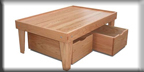 Red Oak Train Table with Solid Hardwood Top and Storage Bins