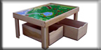Poplar Train Table with Thomas Train Playboard & Storage Bin Trundle Drawers
